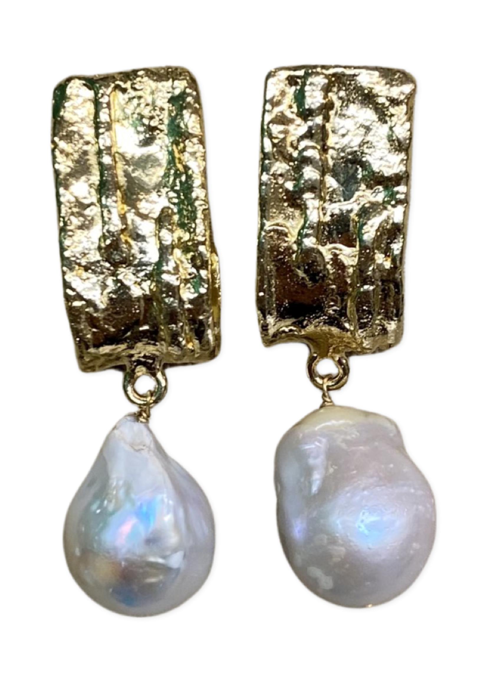 David Jeffery Earrings Brass w Baroque Pearls