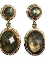 David Jeffery Earrings Brass & Copper w Labradorite
