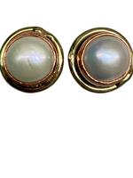 David Jeffery Earrings Stainless&Copper w mother of pearl