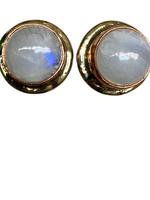 David Jeffery Earrings Gold White Metal w Moonstone