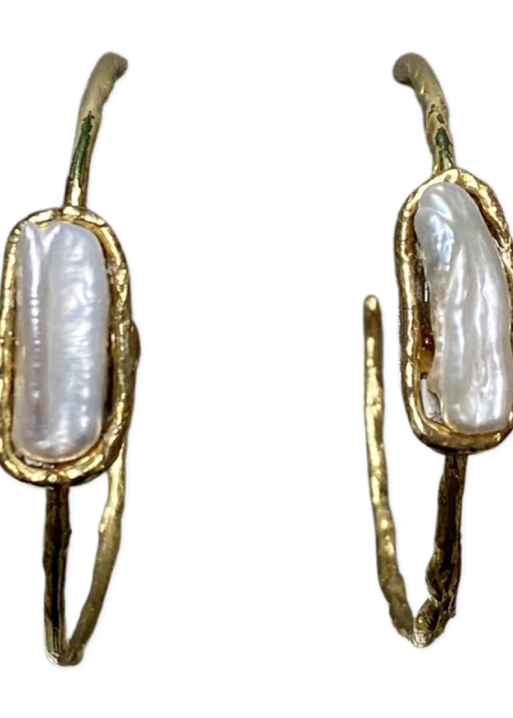 David Jeffery Hoop Earrings Brass w Pearls