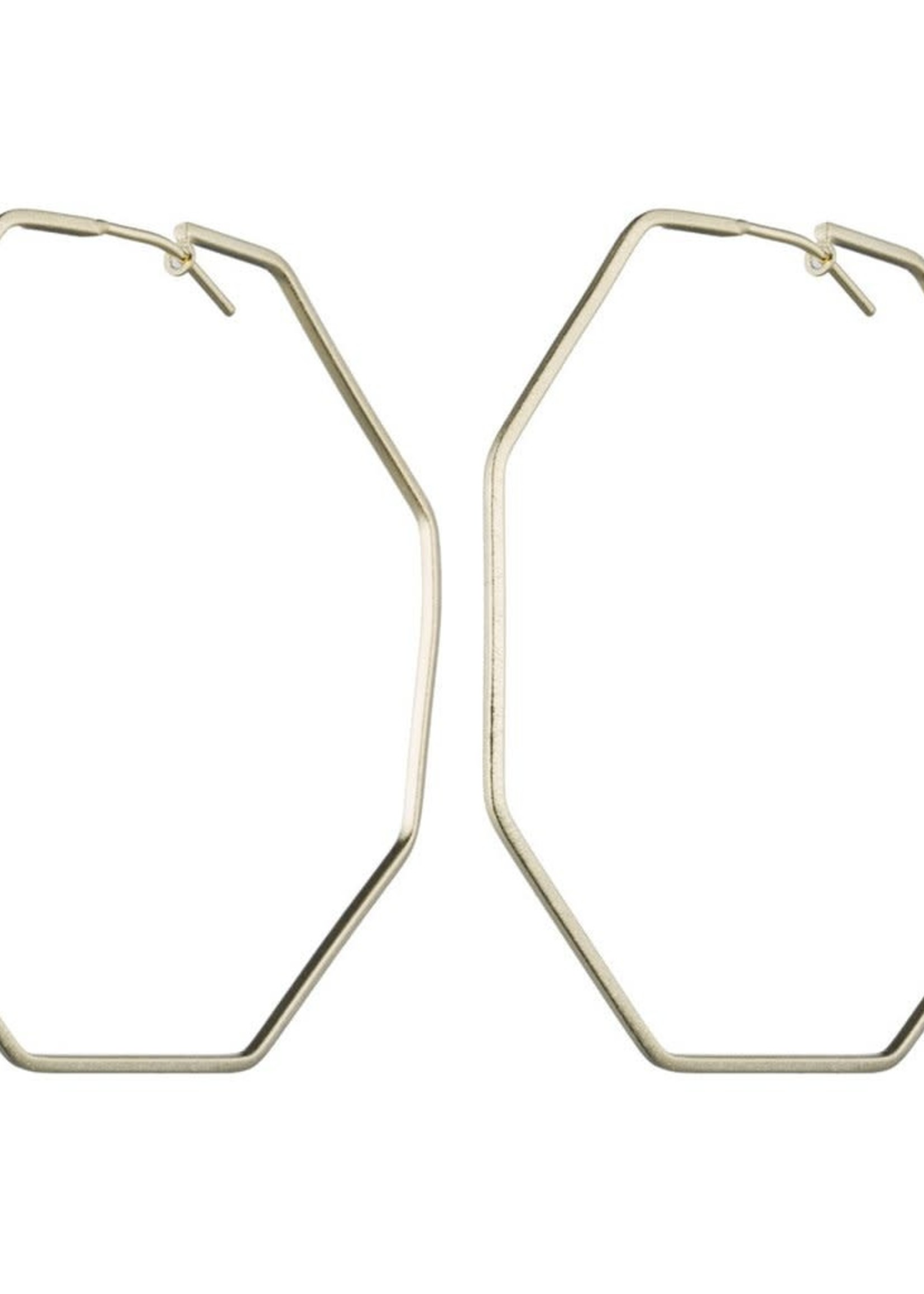 Amber Hoops - hexagonal brushed gold
