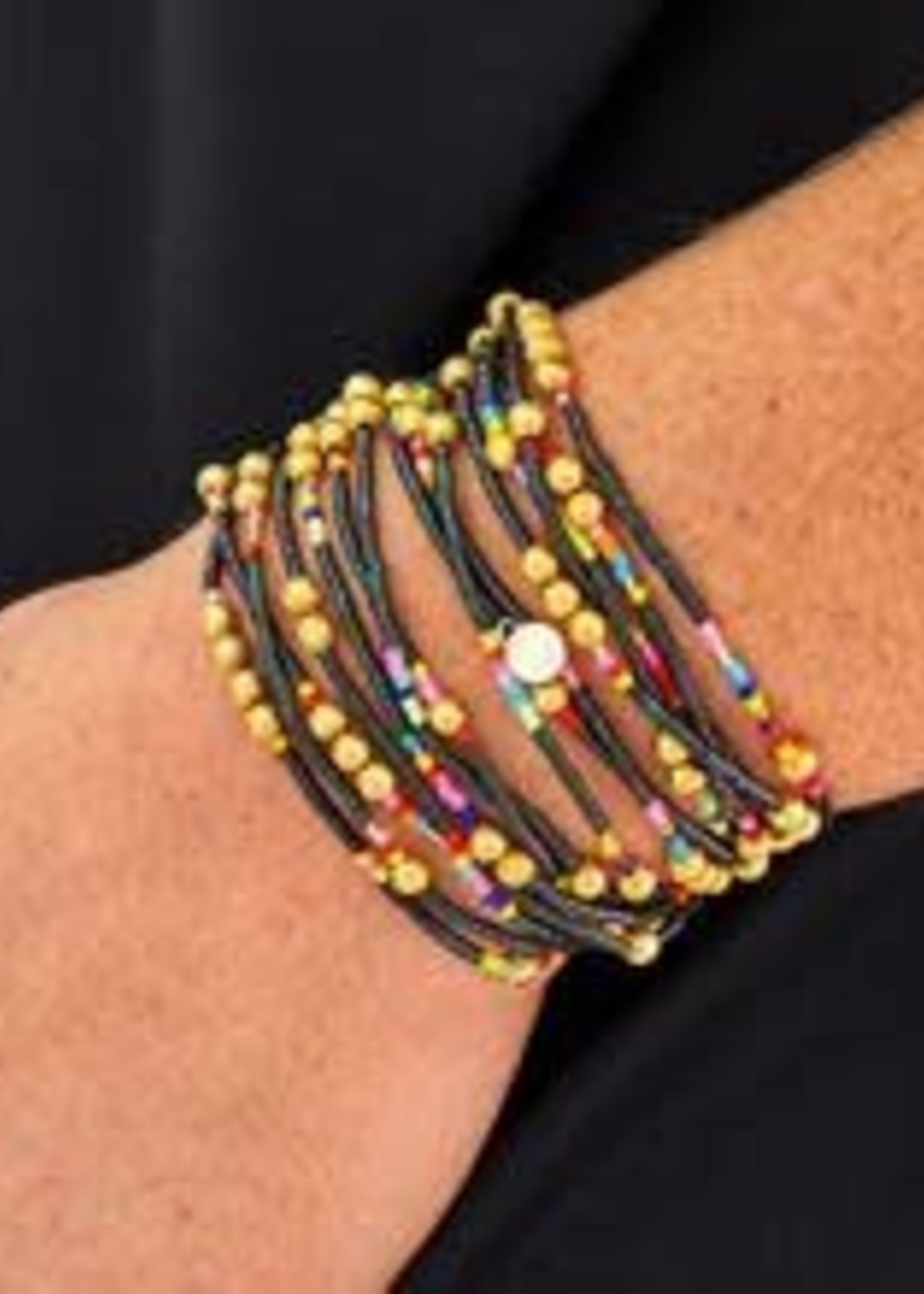 Caryn Lawn Mailbu Wrap Bracelet/Necklace- Black multi/gold