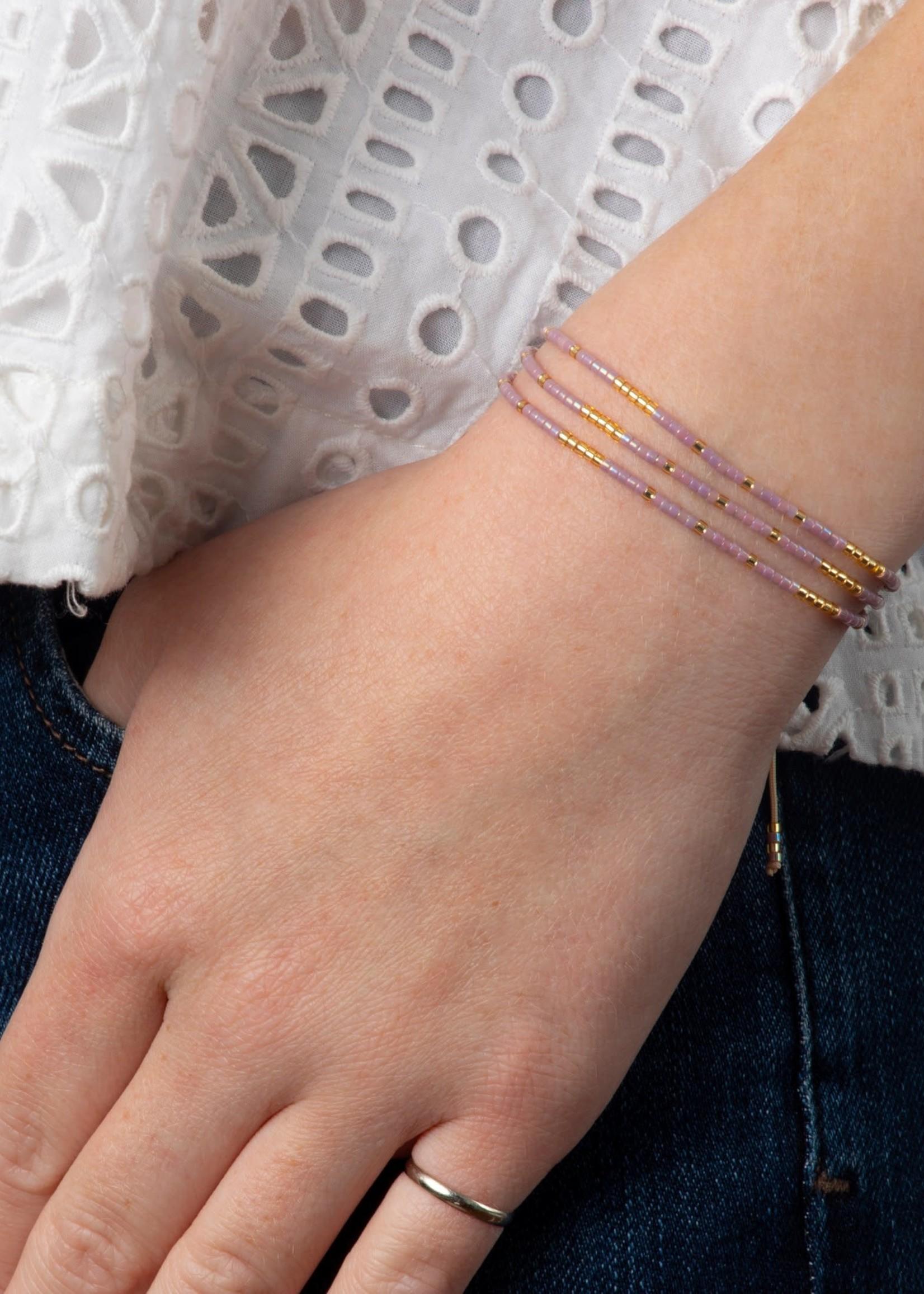 Caryn Lawn Triple Strand Bracelet Lav/Gold