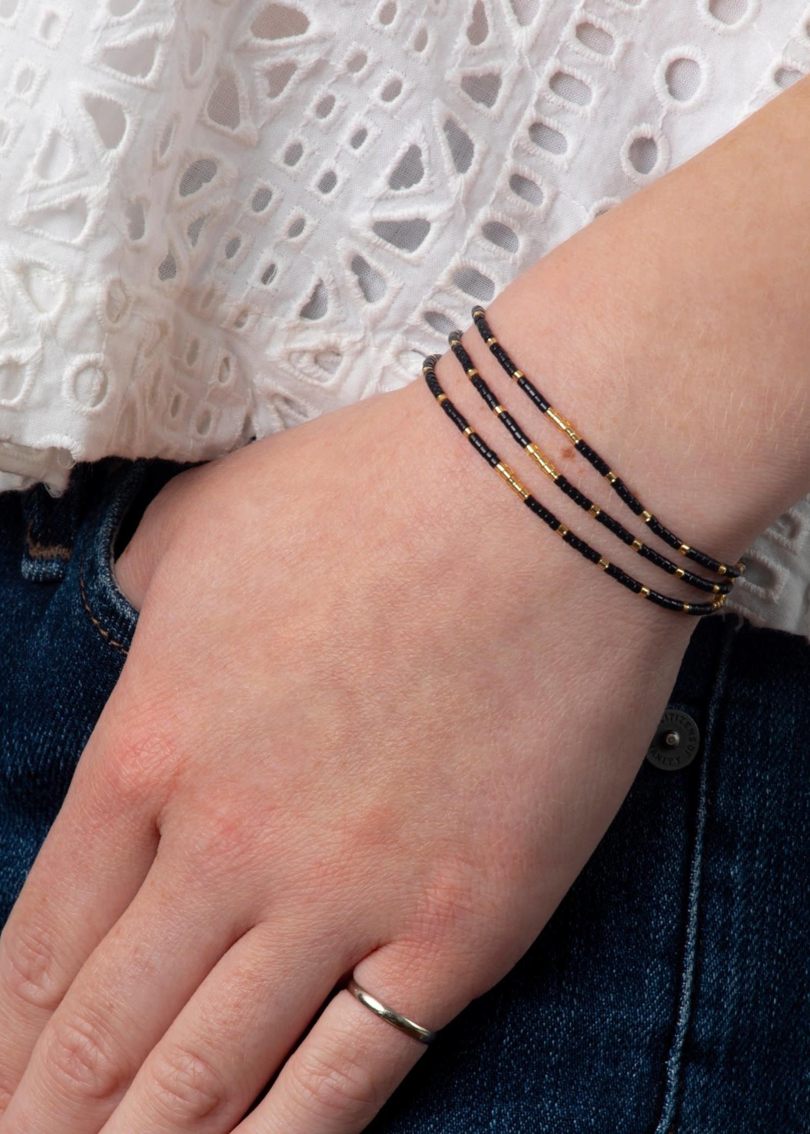 Caryn Lawn Triple Strand Bracelet Blk/Gld