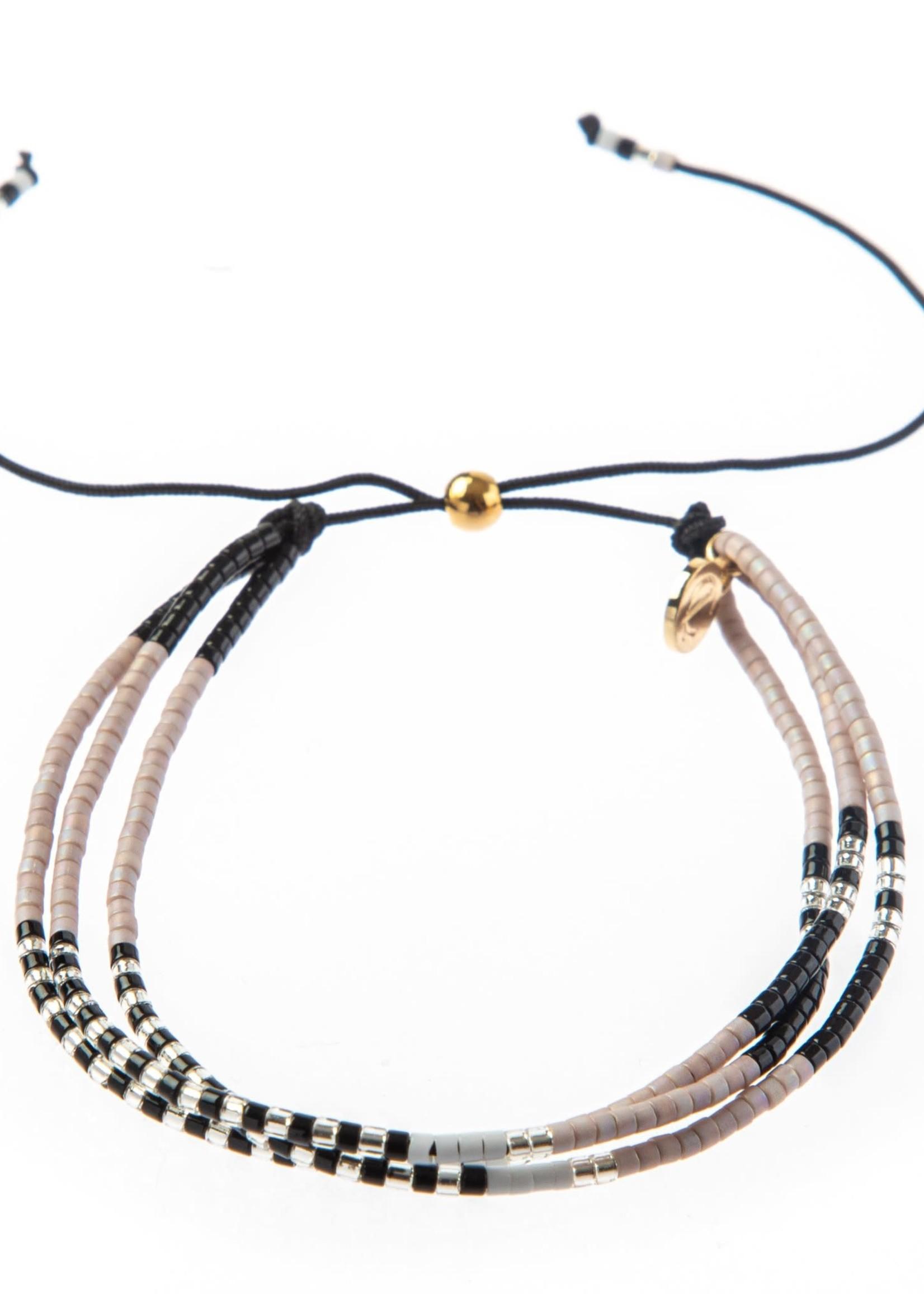 Caryn Lawn Triple Strand Bracelet - Blk/Tup