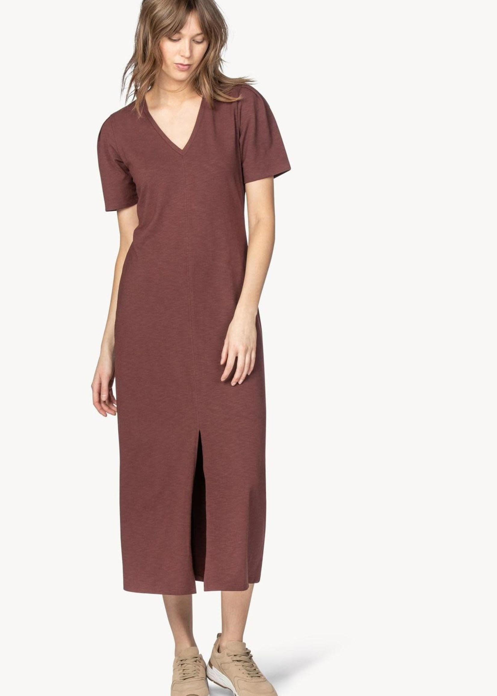 Lilla P Elbow Sleeve V Neck Dress