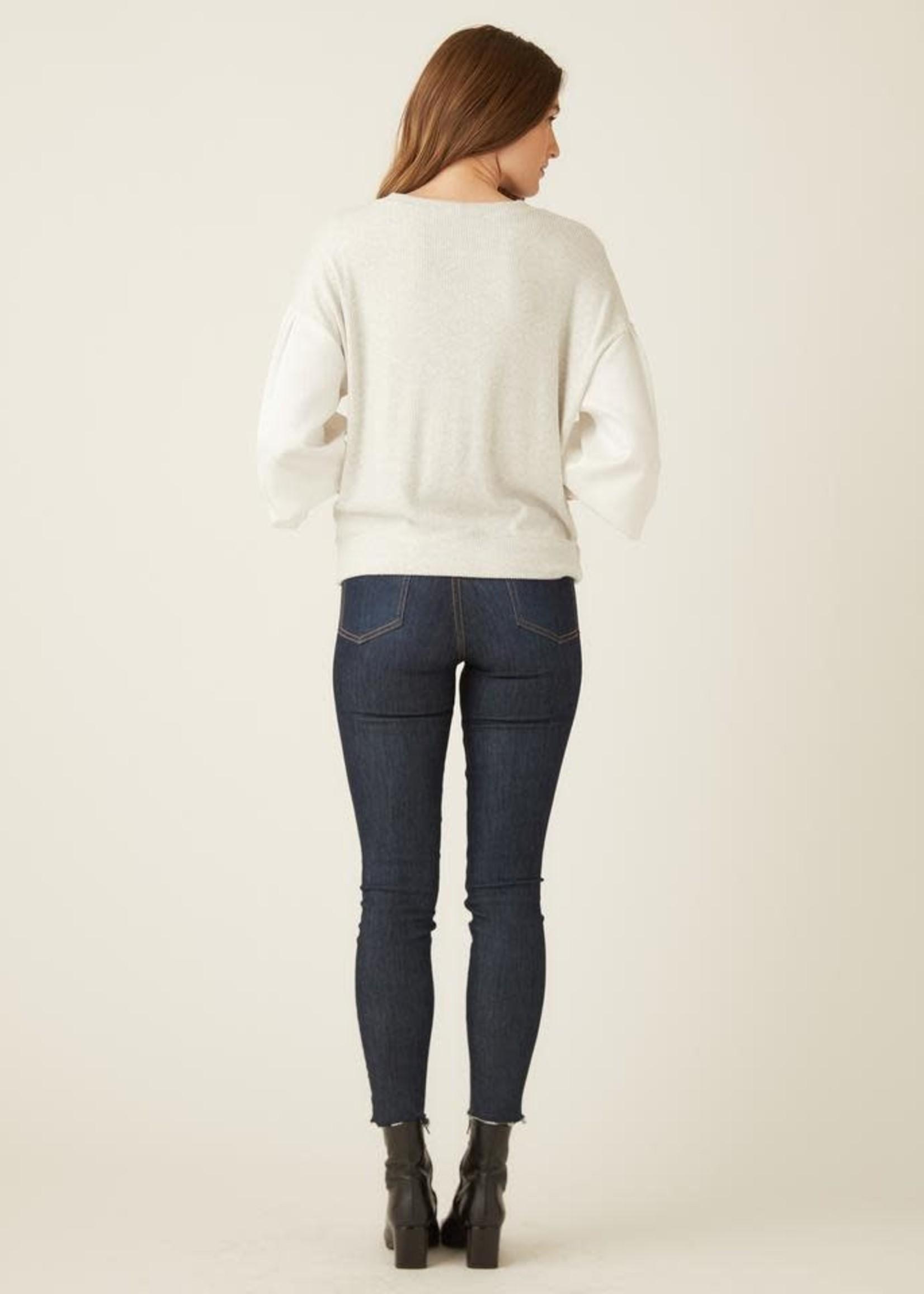 Fifteen Twenty Satin Sleeve Pullover