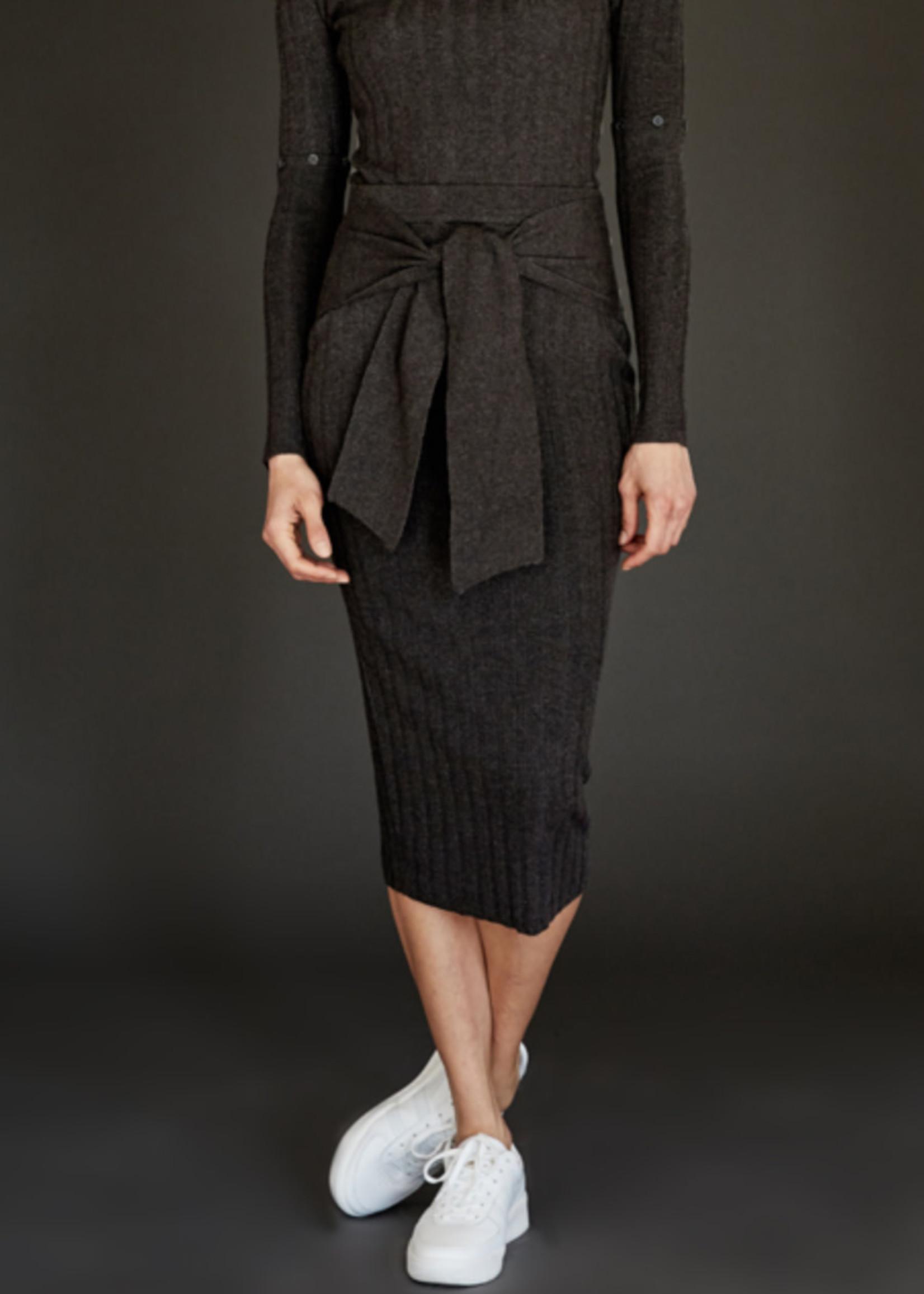 ECRU Tie Front Rib Skirt