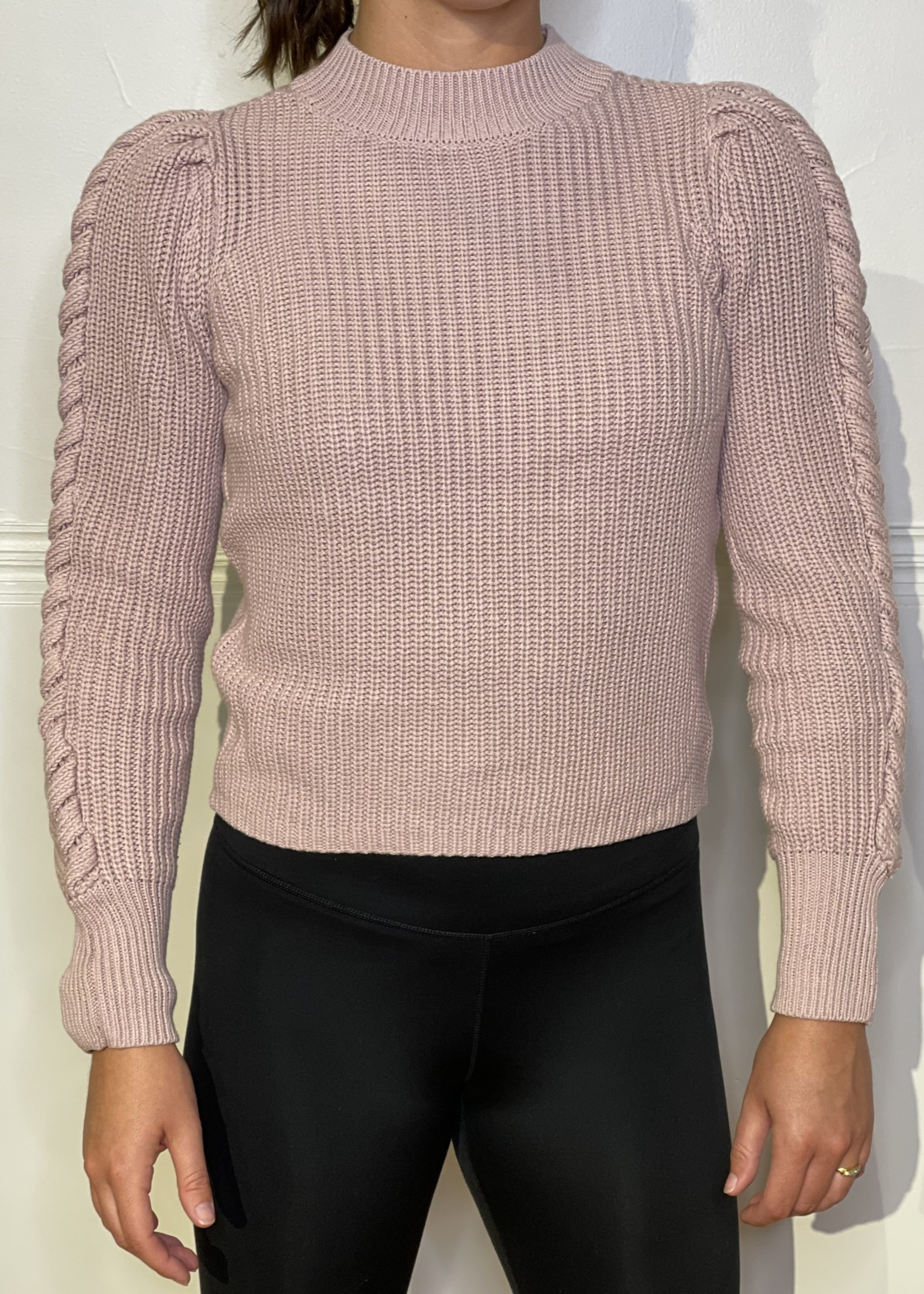 525 America Cable puff sleeve mock neck