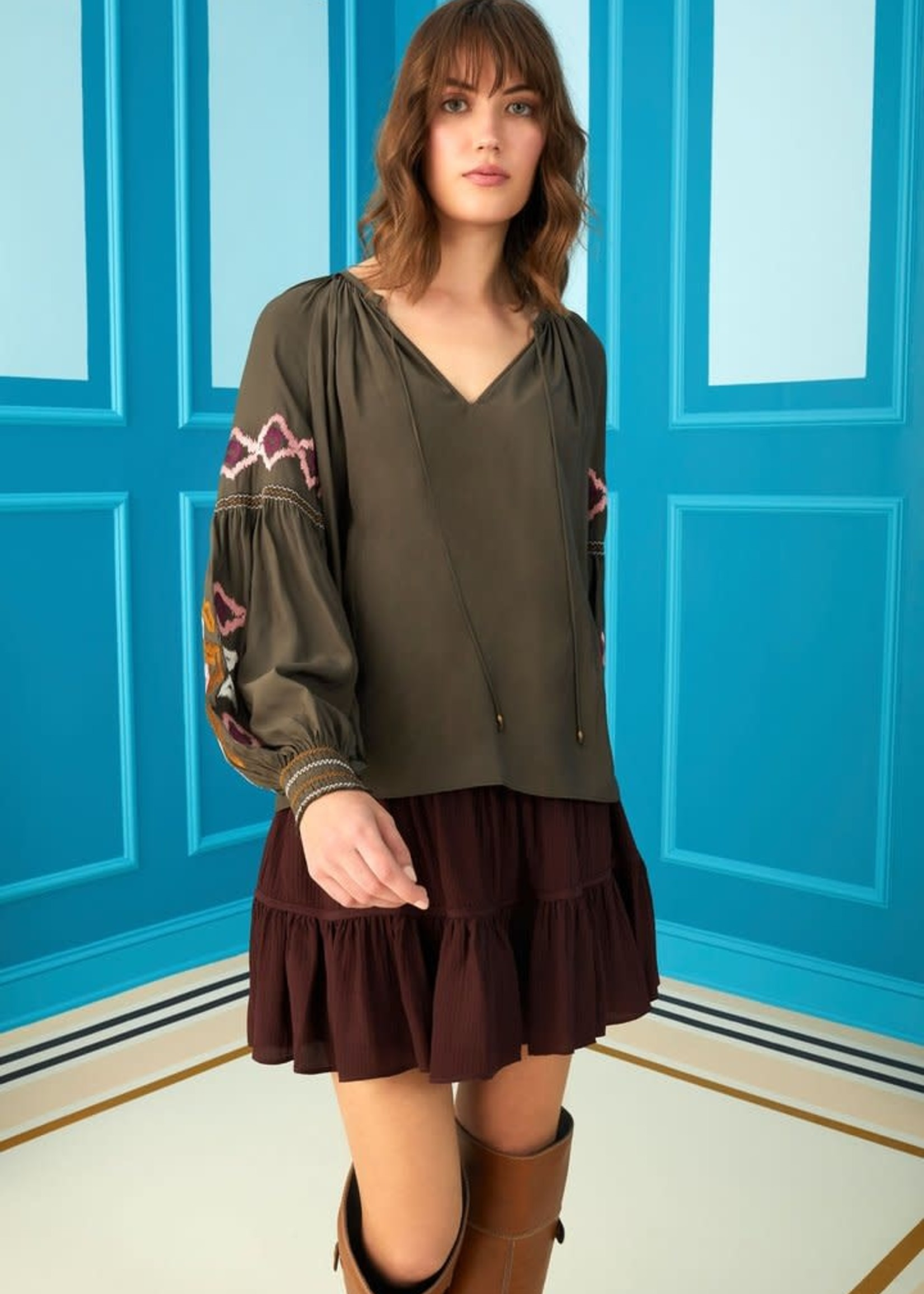 Marie Oliver Emilia Embroidered Blouse