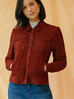 ECRU Suede and Sweater Knit Jacket