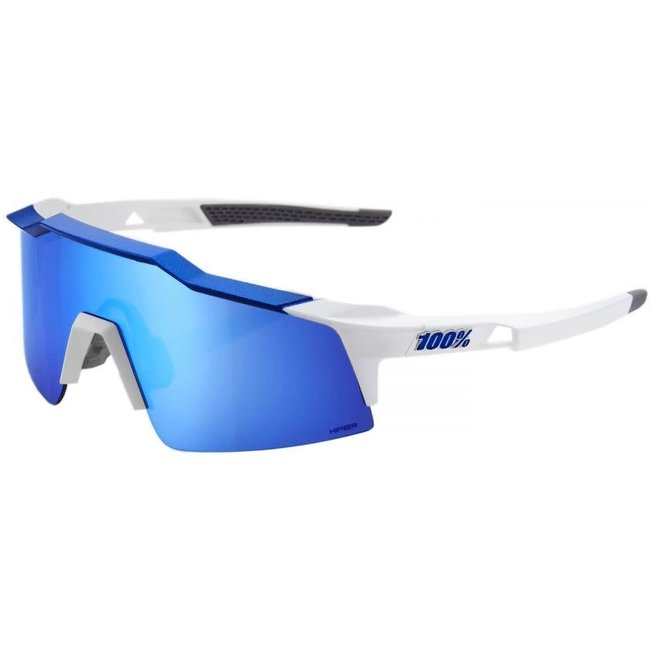 100% Speedcraft SL Sunglasses / Short Lens Matte White/Metallic Blue Blue Hyper lens