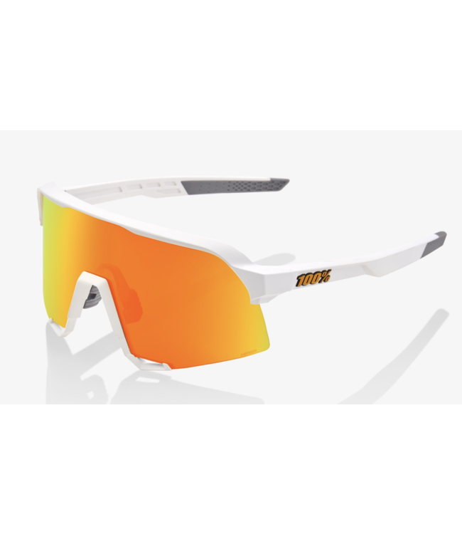 100% S3 Sunglasses, Soft Tact White frame - HiER Red Multilayer Mirror lensP