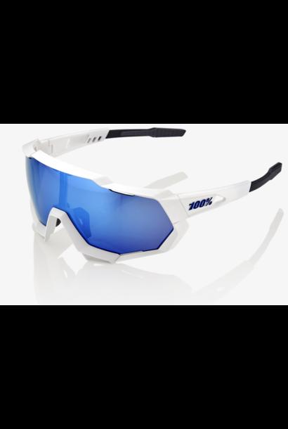 SpeedTrap Sunglasses, Matte White frame - HiPER Blue Multilayer Mirror Lens