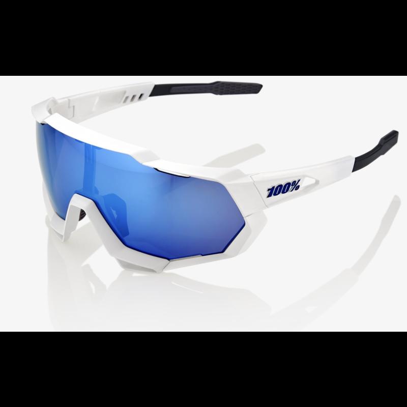 100% SpeedTrap Sunglasses, Matte White frame - HiPER Blue Multilayer Mirror Lens