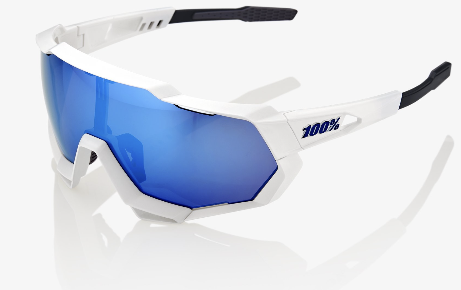 SpeedTrap Sunglasses, Matte White frame - HiPER Blue Multilayer Mirror Lens-1