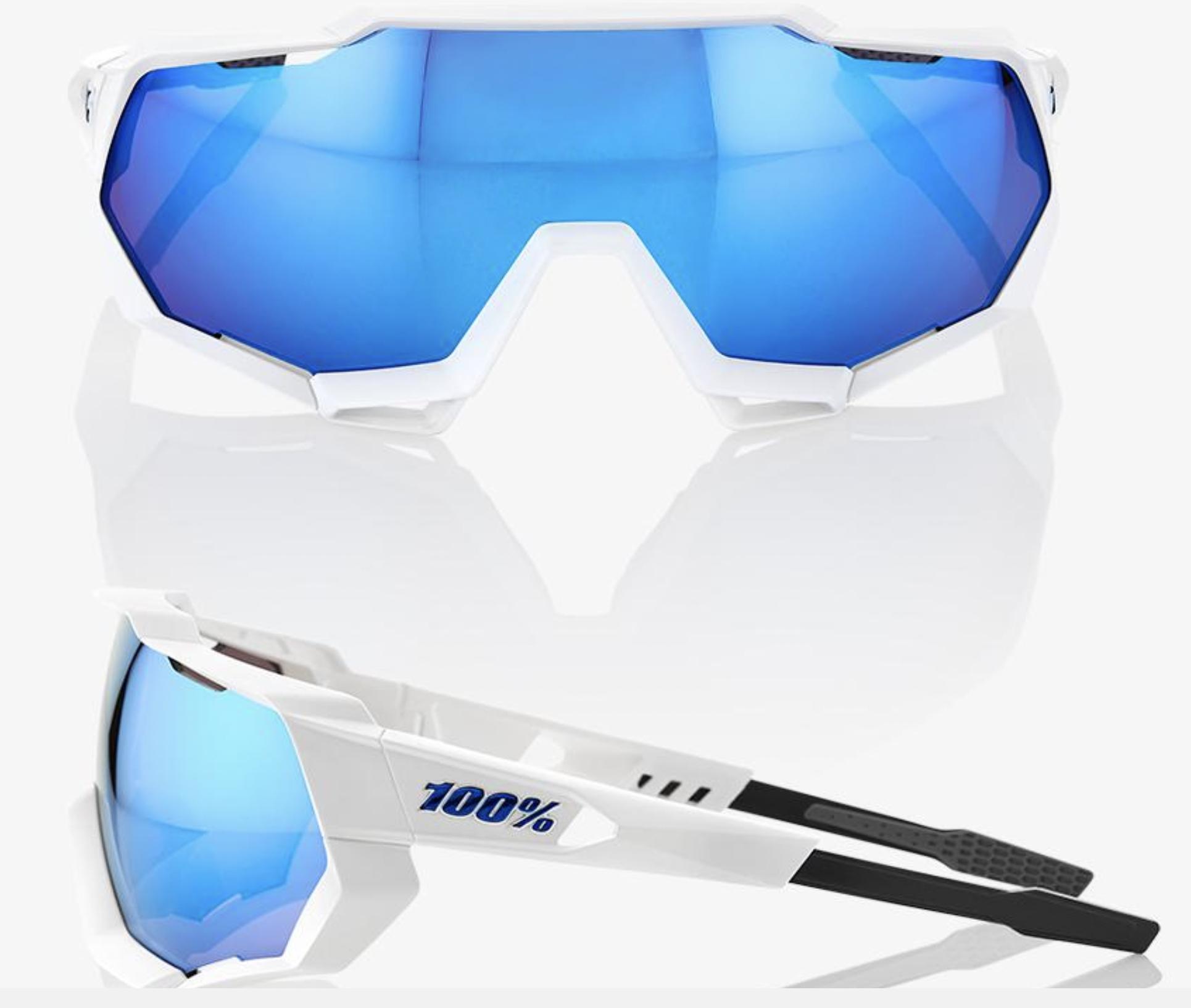 SpeedTrap Sunglasses, Matte White frame - HiPER Blue Multilayer Mirror Lens-2