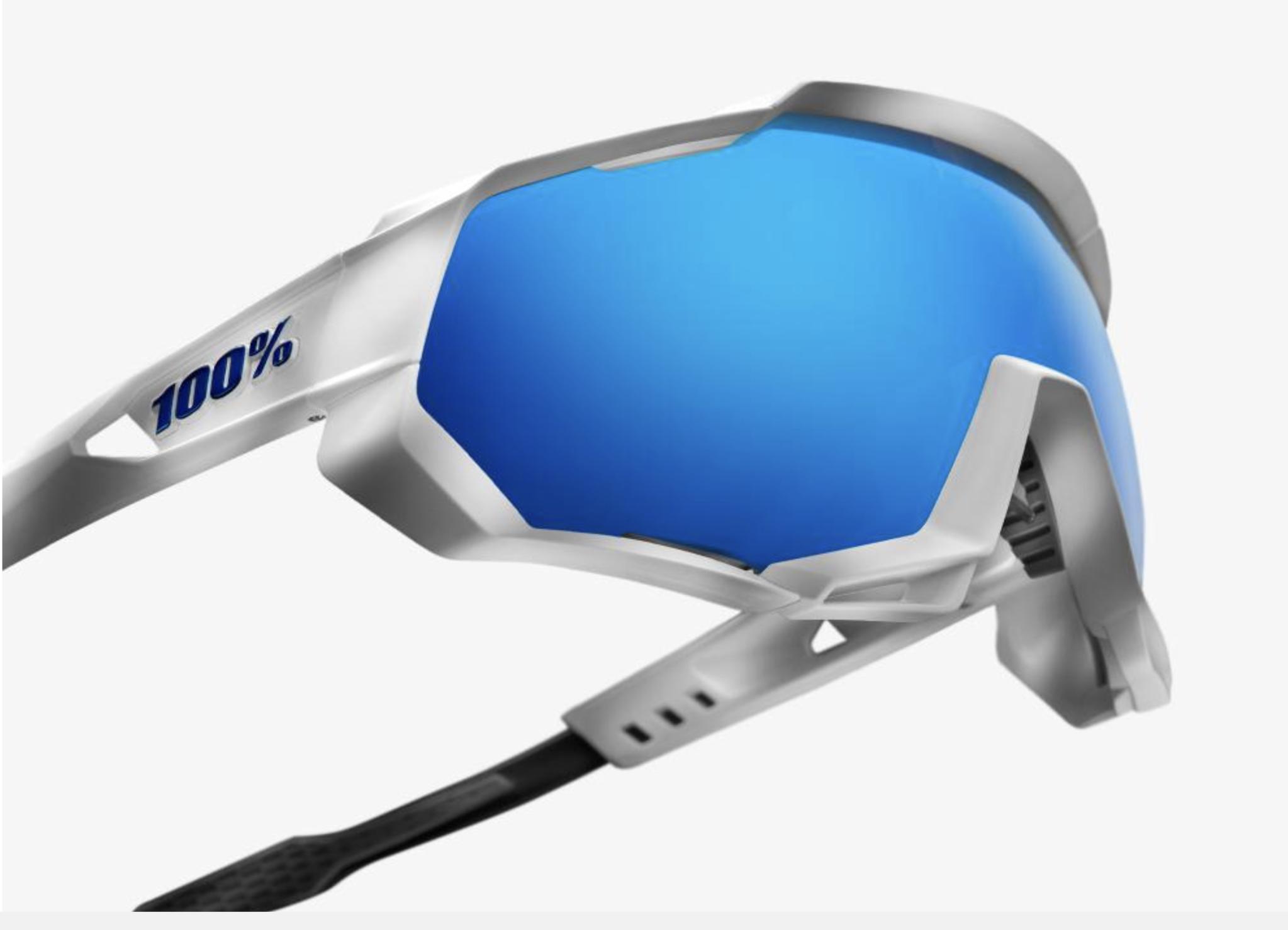 SpeedTrap Sunglasses, Matte White frame - HiPER Blue Multilayer Mirror Lens-3