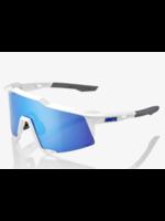 100% SpeedCraft Sunglasses, Matte White frame - HiPER Blue Multilayer Mirror Lens