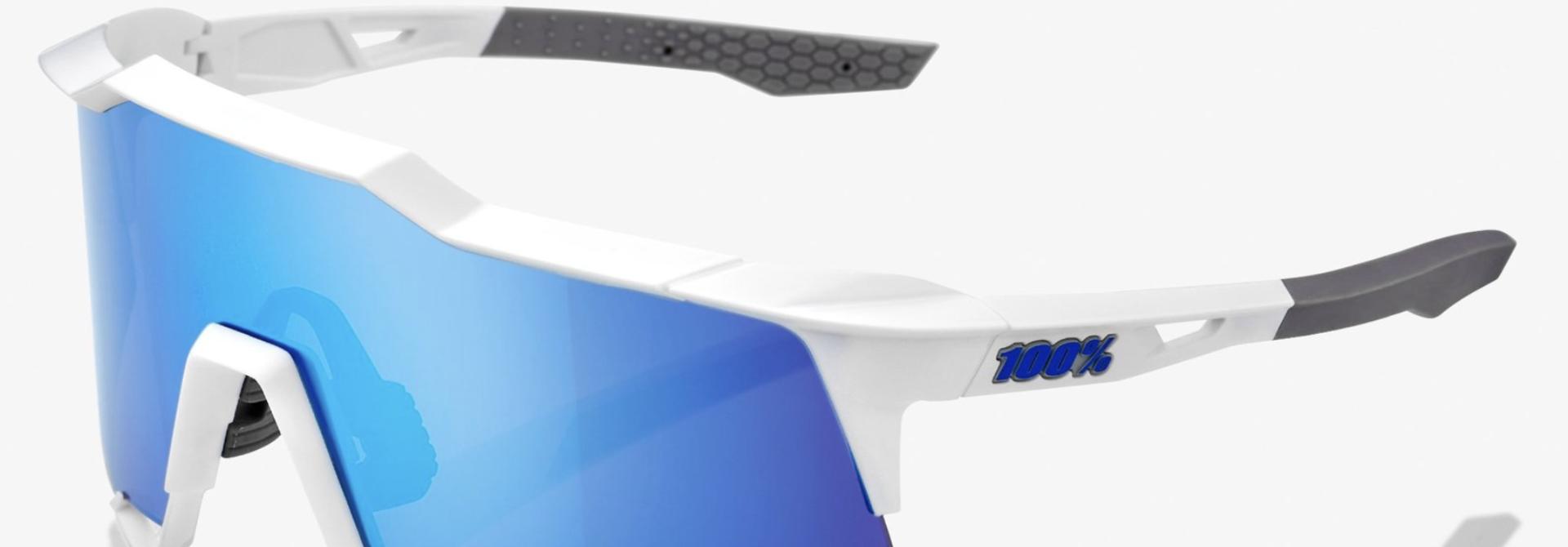 SpeedCraft Sunglasses, Matte White frame - HiPER Blue Multilayer Mirror Lens