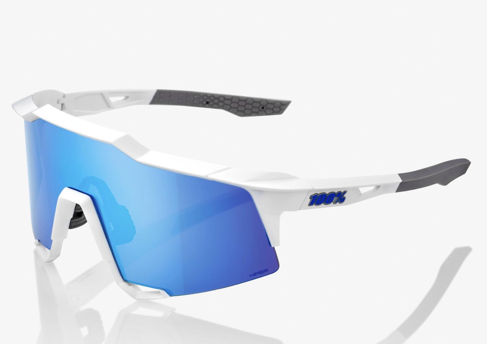 SpeedCraft Sunglasses, Matte White frame - HiPER Blue Multilayer Mirror Lens-1