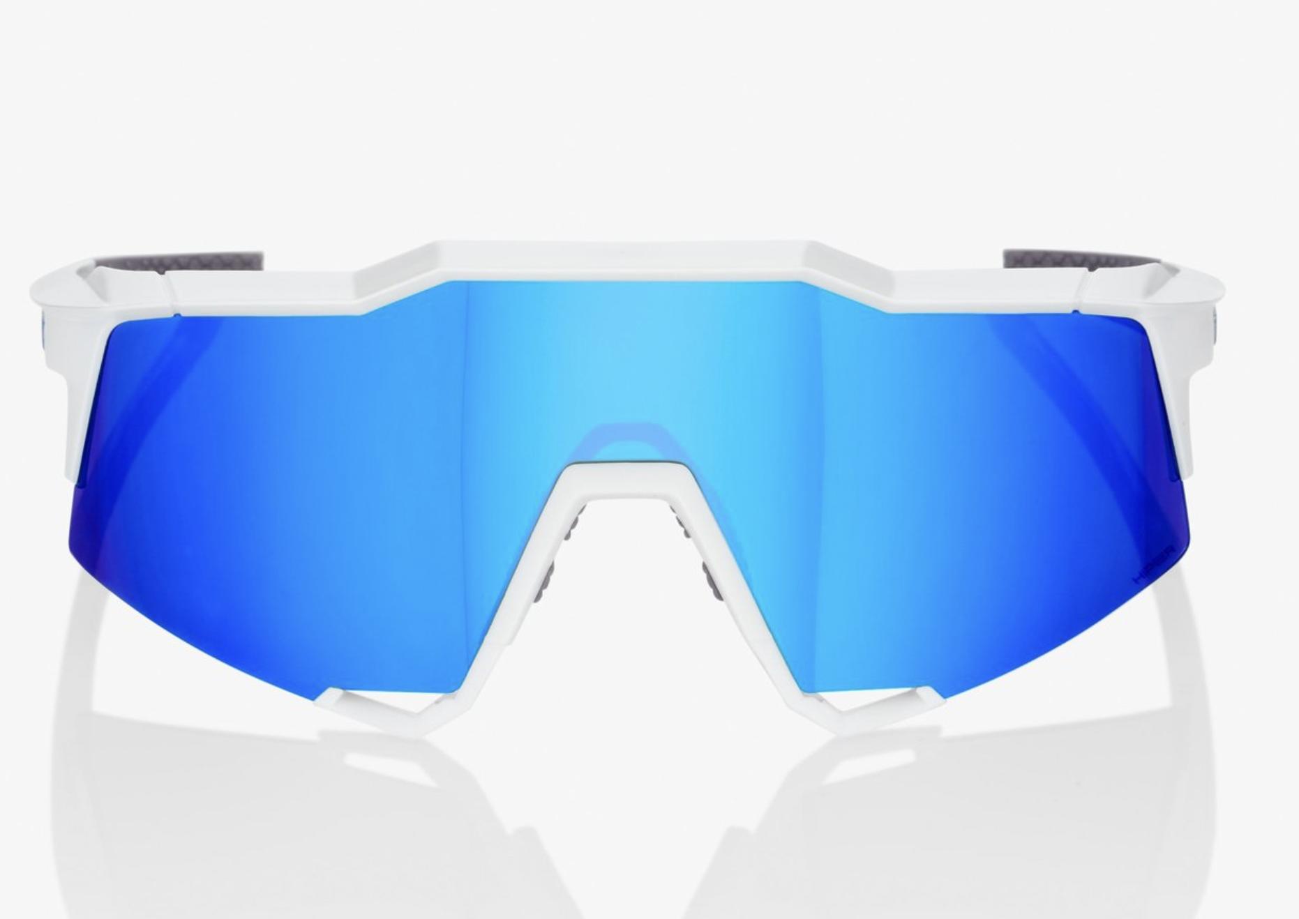 SpeedCraft Sunglasses, Matte White frame - HiPER Blue Multilayer Mirror Lens-2