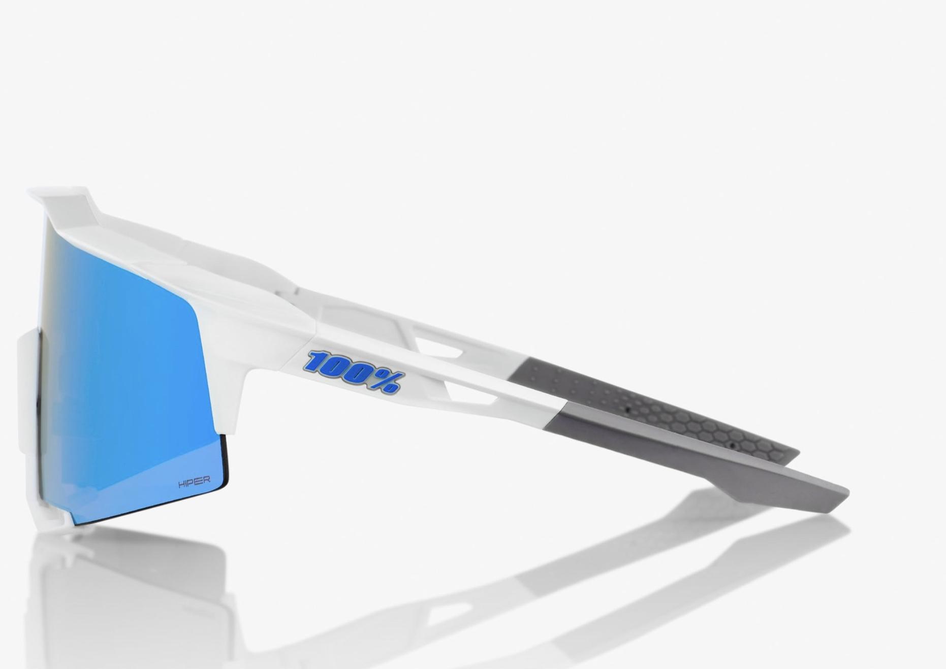 SpeedCraft Sunglasses, Matte White frame - HiPER Blue Multilayer Mirror Lens-3