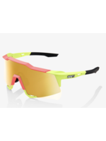 100% SpeedCraft Sunglasses, Matte Washed Out Neon Yellow frame - Flash Gold Mirror Lens