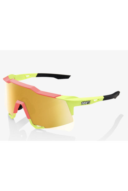 SpeedCraft Sunglasses, Matte Washed Out Neon Yellow frame - Flash Gold Mirror Lens