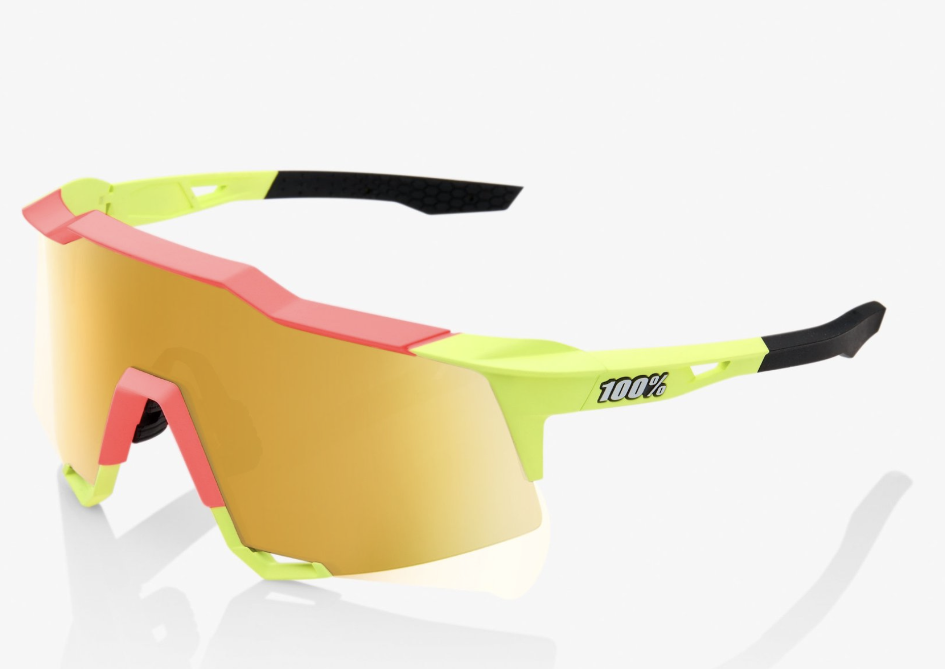 SpeedCraft Sunglasses, Matte Washed Out Neon Yellow frame - Flash Gold Mirror Lens-1