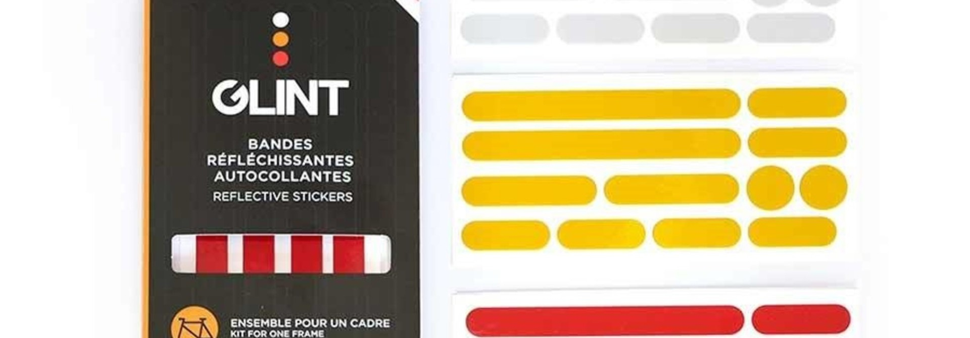 Reflective, Frame Stickers 3 Colors, White/Yellow/Red, Kit