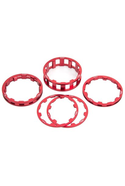 Box Zero Headset Spacer Kit - 1-1/8'' - Red