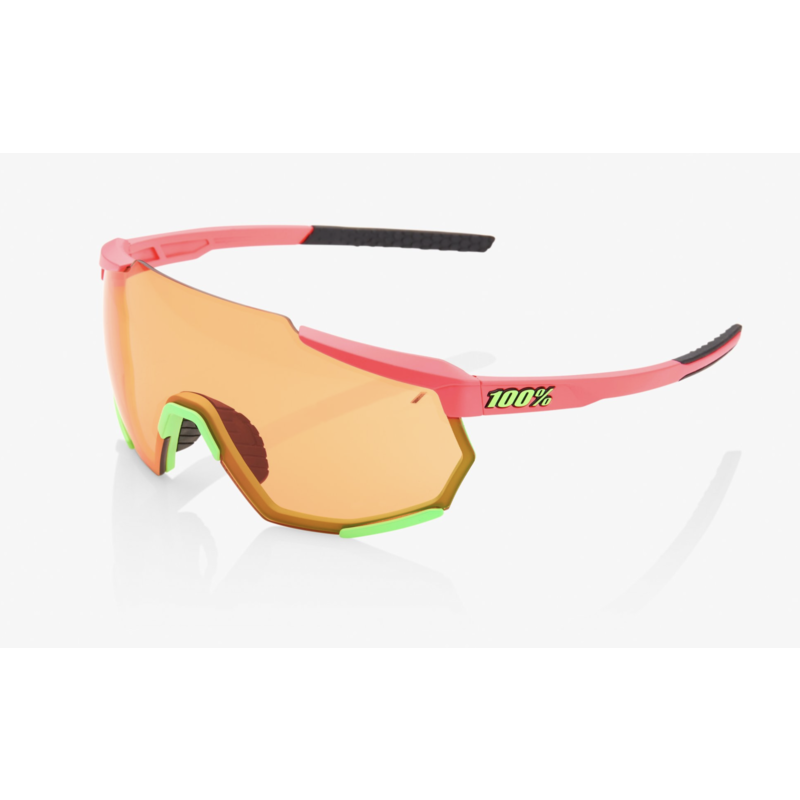 100% Racetrap Sunglasses, Matte Washed Out Neon Pink frame - Persimmon Lens