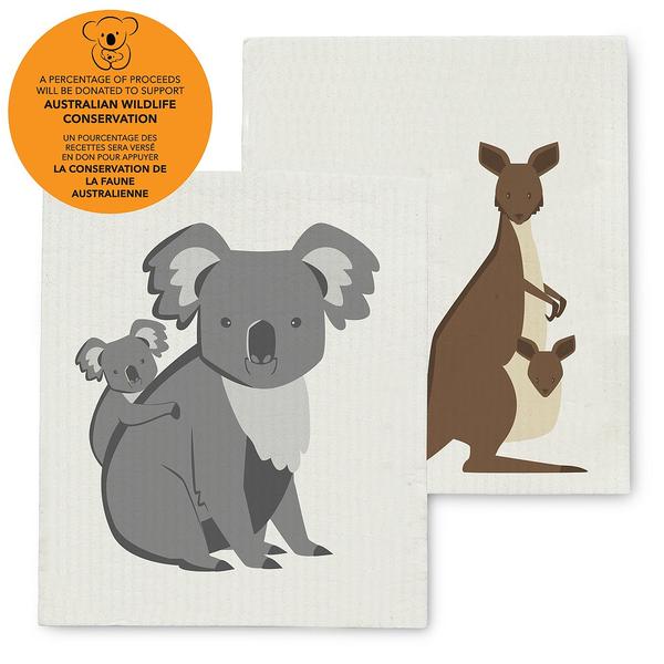 HHOLD ABBOTT KOALA & KANGAROO  SWEDISH DISH CLOTH SUPPORT AUSTRALIAN WILDLIFE CONSERVATION