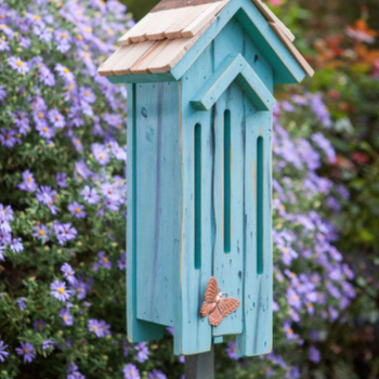 HOUSES HEARTWOOD FLUTTER FLAT BUTTERFLY HOUSE W/STAKE TURQUOISE