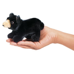 KIDS FOLKMANIS MINI BLACK BEAR FINGER PUPPET