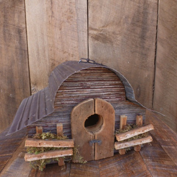 HOUSES NATURE CREATIONS BARN WOOD HANGING WREN HOUSE #23 NATURAL