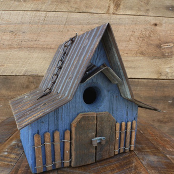 HOUSES NATURE CREATIONS BARN WOOD HANGING HOUSE W/TIN ROOF #28 BLUE