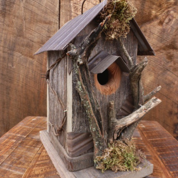 HOUSES NATURE CREATIONS BARN WOOD RUSTIC BIRD HOUSE #34 NATURAL