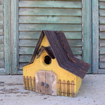 HOUSES NATURE CREATIONS BARN WOOD HANGING HOUSE W/TIN ROOF #28 MUSTARD