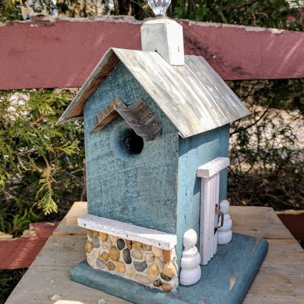 HOUSES NATURE CREATIONS BARN WOOD BIRD HOUSE W/TIN ROOF #52 TEAL