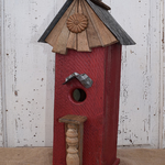 HOUSES NATURE CREATIONS BARN WOOD TALL HOUSE W/TIN ROOF #49 RED