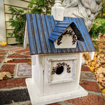HOUSES NATURE CREATIONS BARN WOOD BIRD HOUSE W/TIN ROOF #53 BLUE ROOF