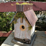 HOUSES NATURE CREATIONS BARN WOOD BIRD HOUSE W/TIN ROOF #38 NATURAL