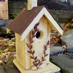 HOUSES NATURE CREATIONS BARN WOOD BIRD HOUSE W/TIN ROOF #04 YELLOW