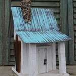HOUSES NATURE CREATIONS BARN WOOD CABIN W/TIN ROOF #09 WHITE W/TEAL