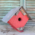 HOUSES NATURE CREATIONS BARN WOOD BIRD HOUSE W/TIN ROOF #70 RED
