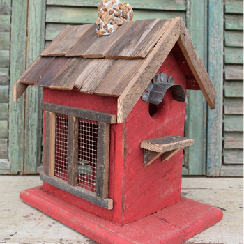 HOUSES NATURE CREATIONS BARN WOOD BIRD HOUSE W/WOOD ROOF #15 RED