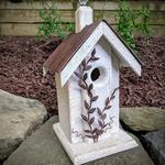 HOUSES NATURE CREATIONS BARN WOOD BIRD HOUSE W/TIN ROOF #04 WHITE